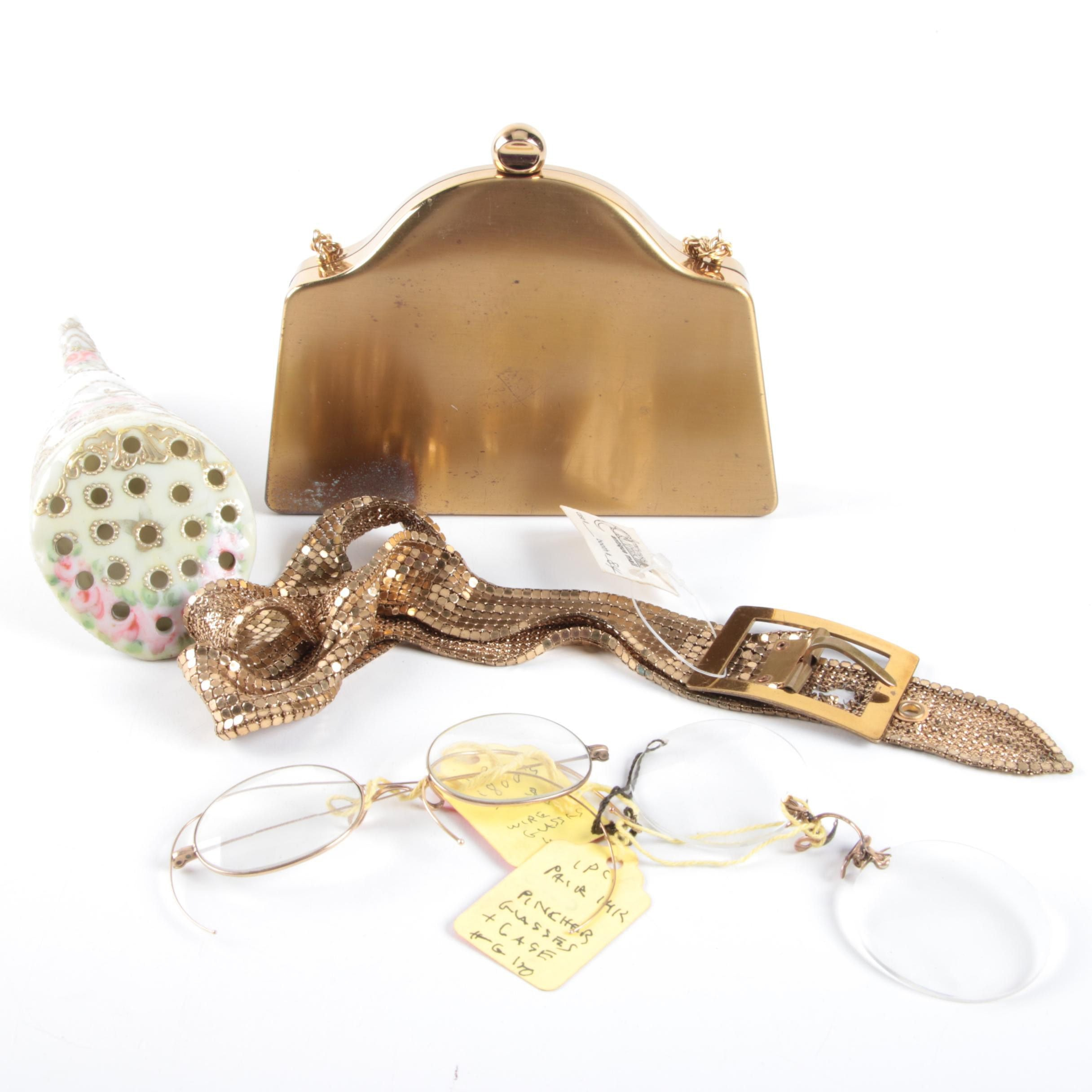 Vintage Fashion Accessories Including Nippon Pin Holder