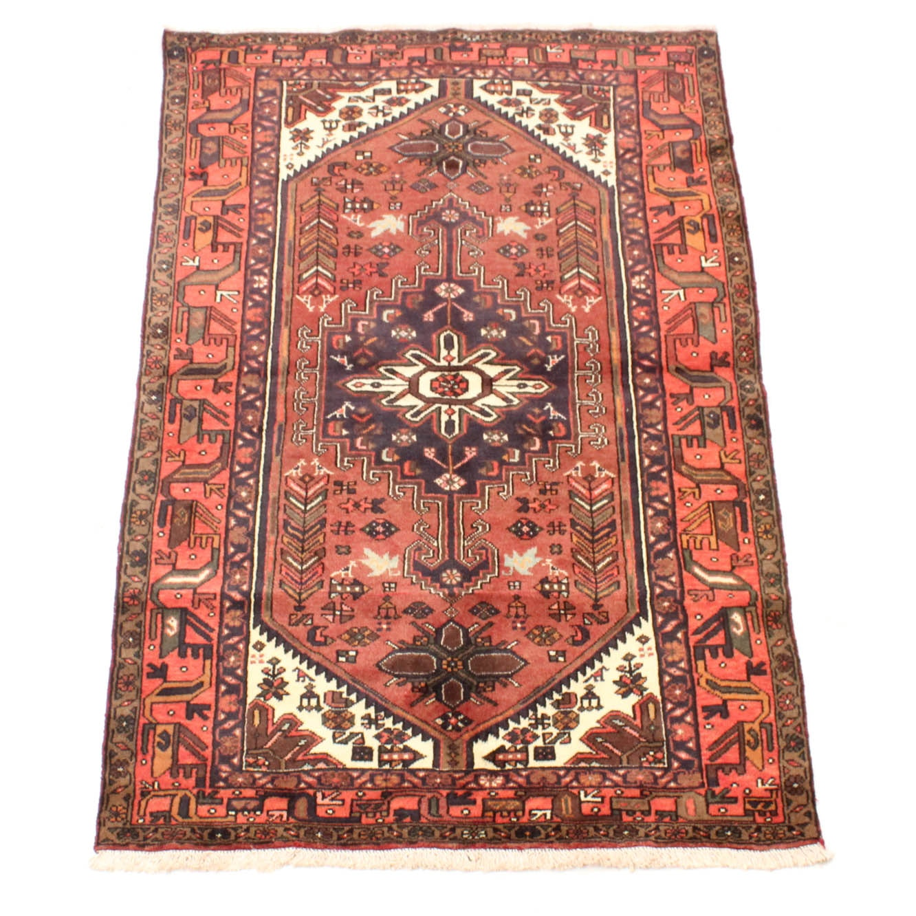 4' x 7' Fine Hand-Knotted Persian Zanjan Pictorial Rug