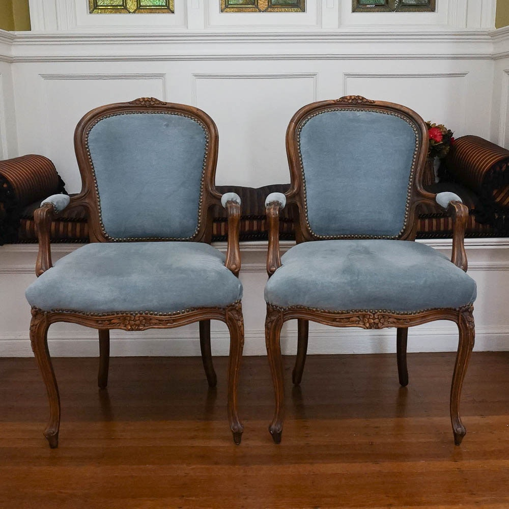 Louis XV Style Blue Upholstered Fauteuil Pair
