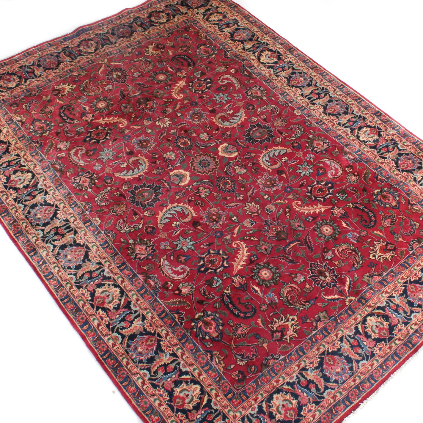 8' x 11' Signed Fine Hand-Knotted Persian Mashhad Rug