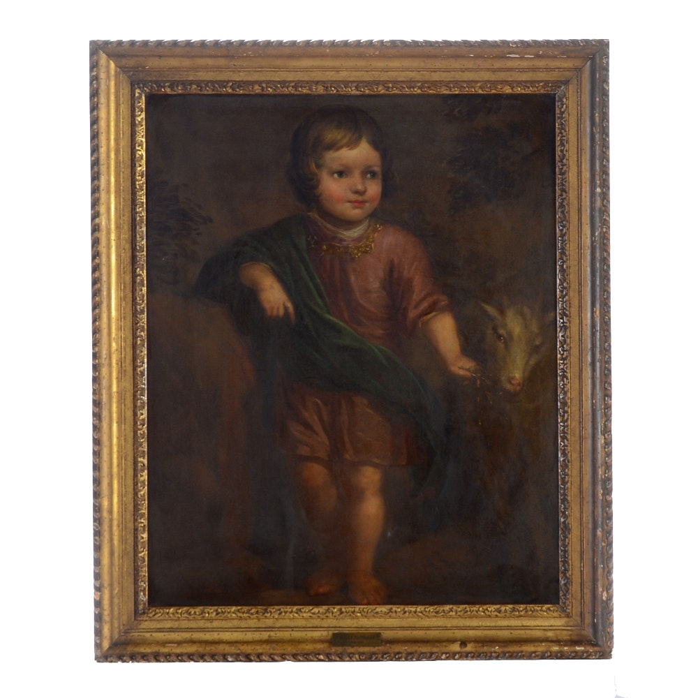 Arnold Van Houbraken Antique Oil Painting of a Child