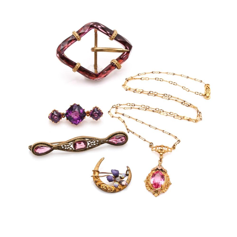 Vintage Jewelry Including Art Nouveau Brooch and Czech Glass