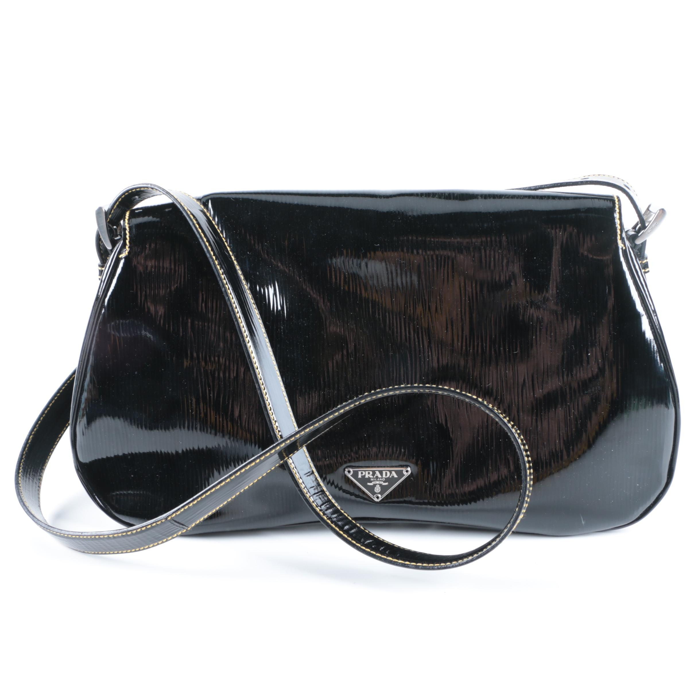 Prada Black Patent Vitello Move Leather Handbag