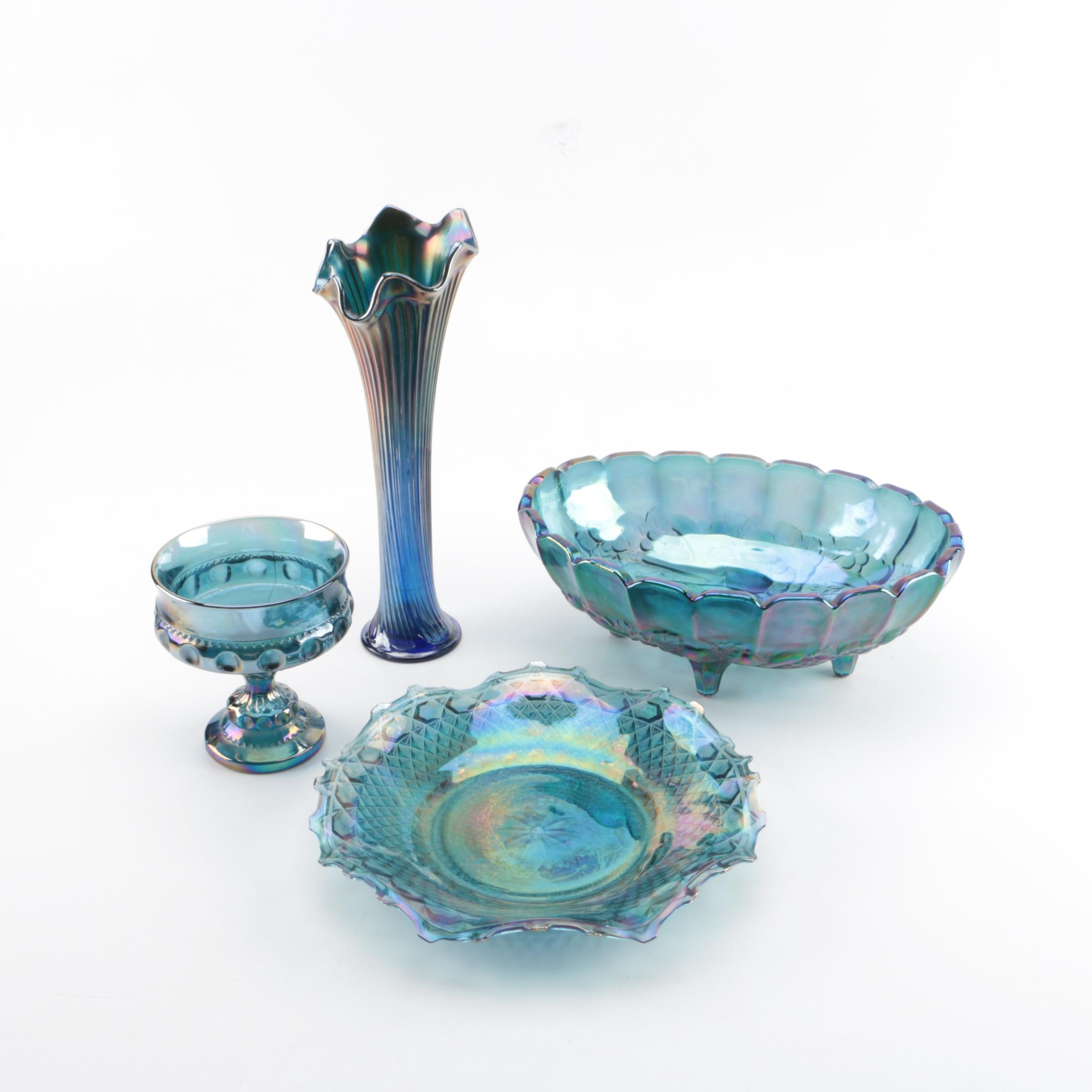 Blue Carnival Glass Serving Pieces and Vase