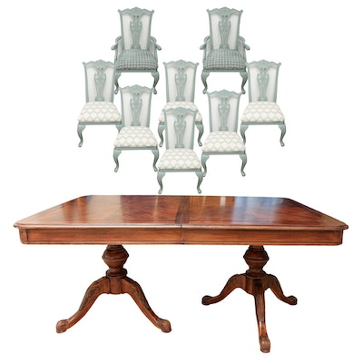 Empire Style Pedestal Dining Table and Eight Painted Chairs - Vintage Dining Furniture Auction Antique Dining Furniture For