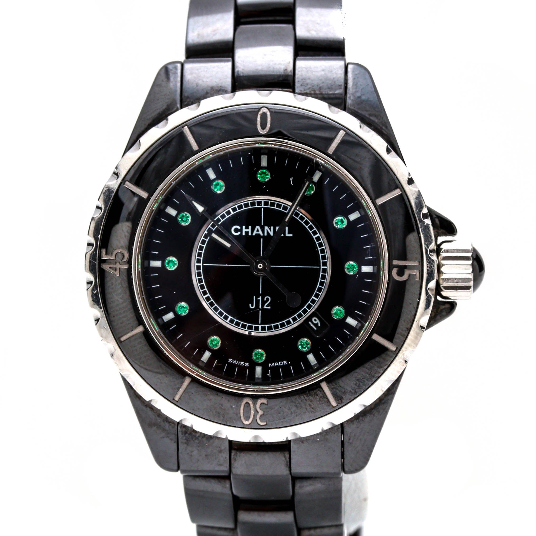 Chanel Stainless Steel and Black Ceramic Emerald Wristwatch