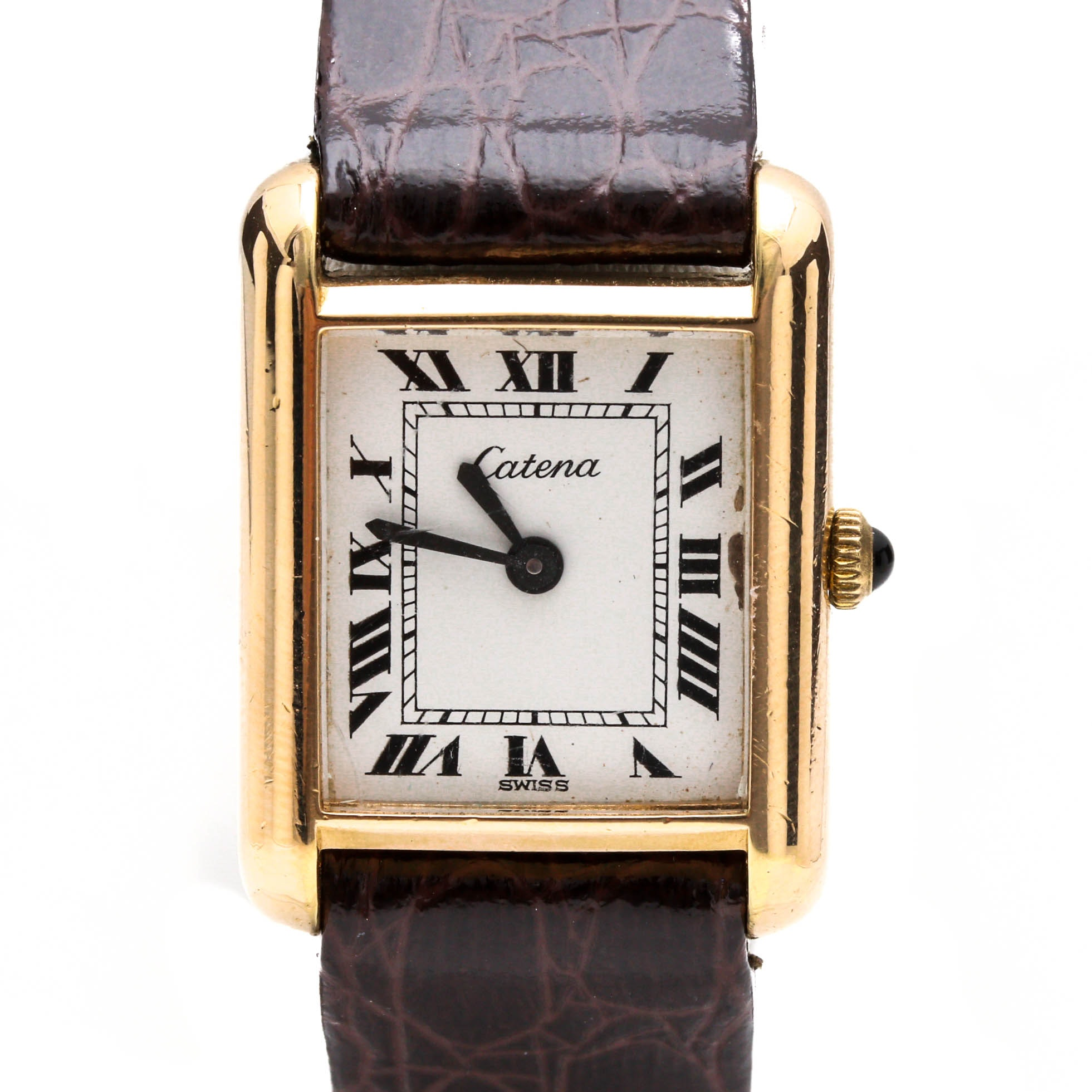 Catena 18K Gold Plated Brown Leather Wristwatch