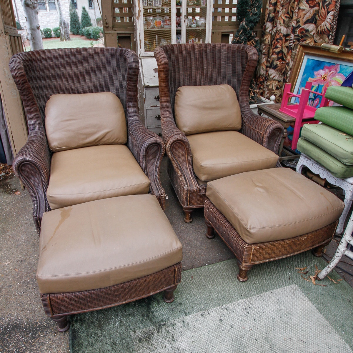 Wing Back Wicker Lounge Chairs