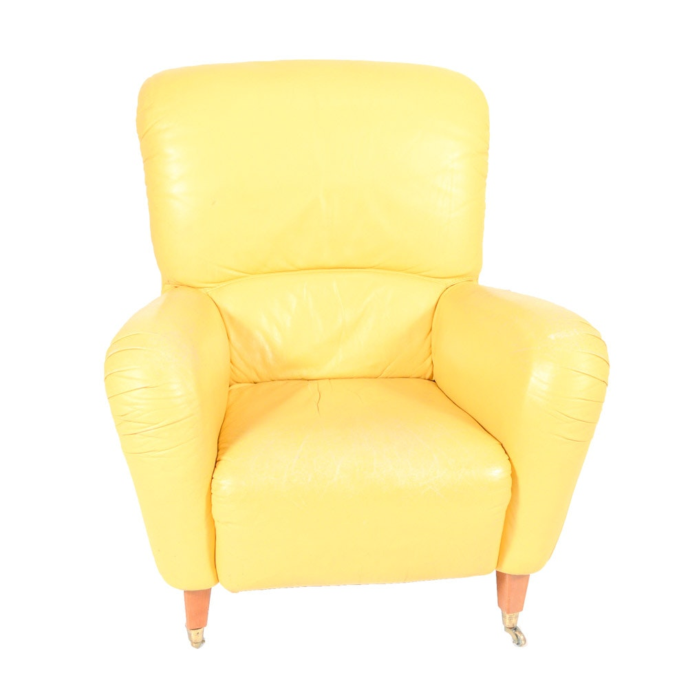 Mid Century Modern Style Yellow Leather Arm Chair