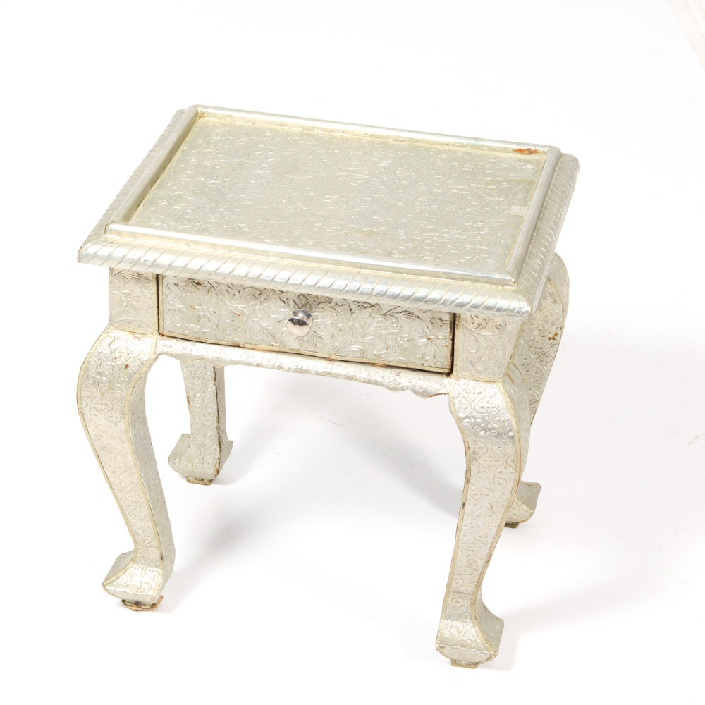 Antique Wooden Side Table with Embossed Tin Covering