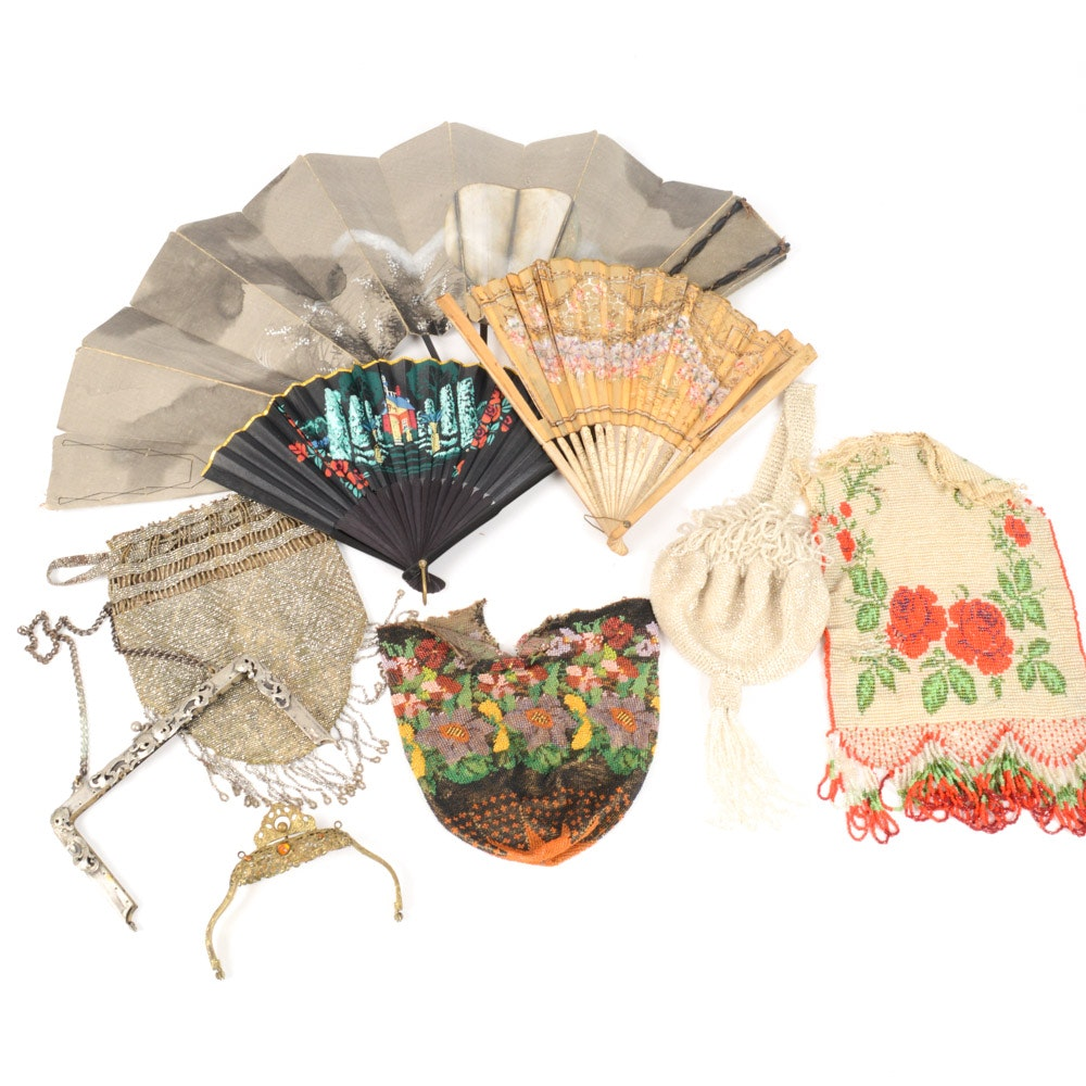 Vintage Fan and Beaded Purse Assortment
