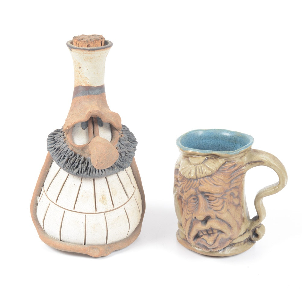 "Vintage Rumph Pottery Mug ""The Hangover"" and Signed Artisan Flask"