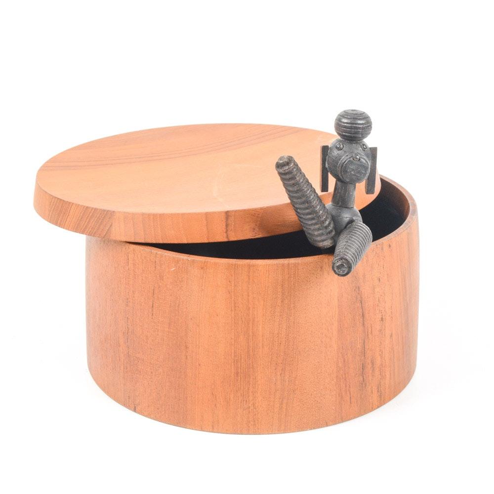 Mid Century Modern Wooden Poodle and Teak Ice Bucket