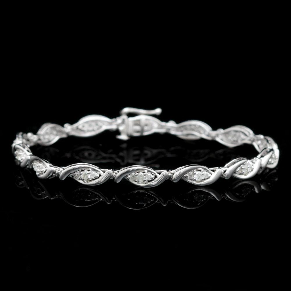 10K White Gold and 1.00 CTW Diamond Bracelet