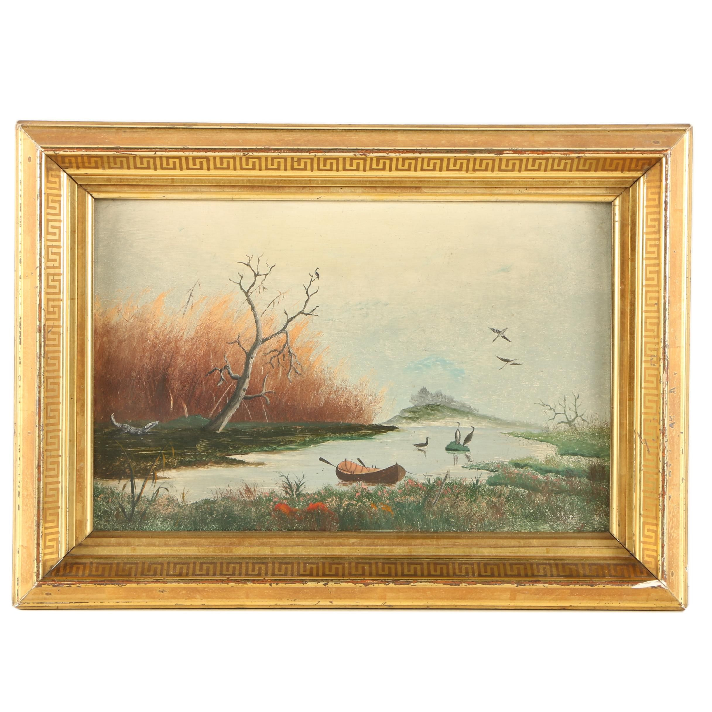 Oil Painting of Boat in a Pond