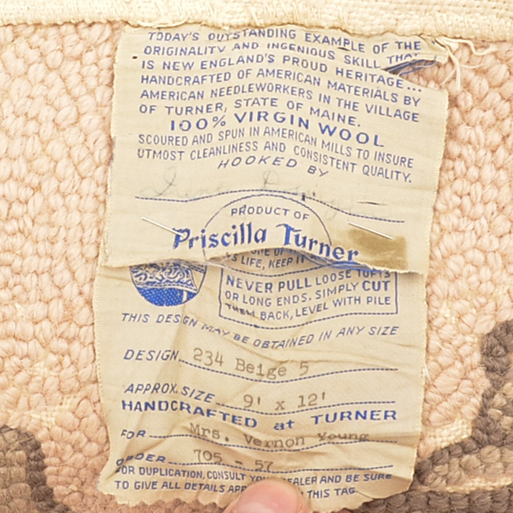 Hand Hooked Priscilla Turner New England Wool Floral Area