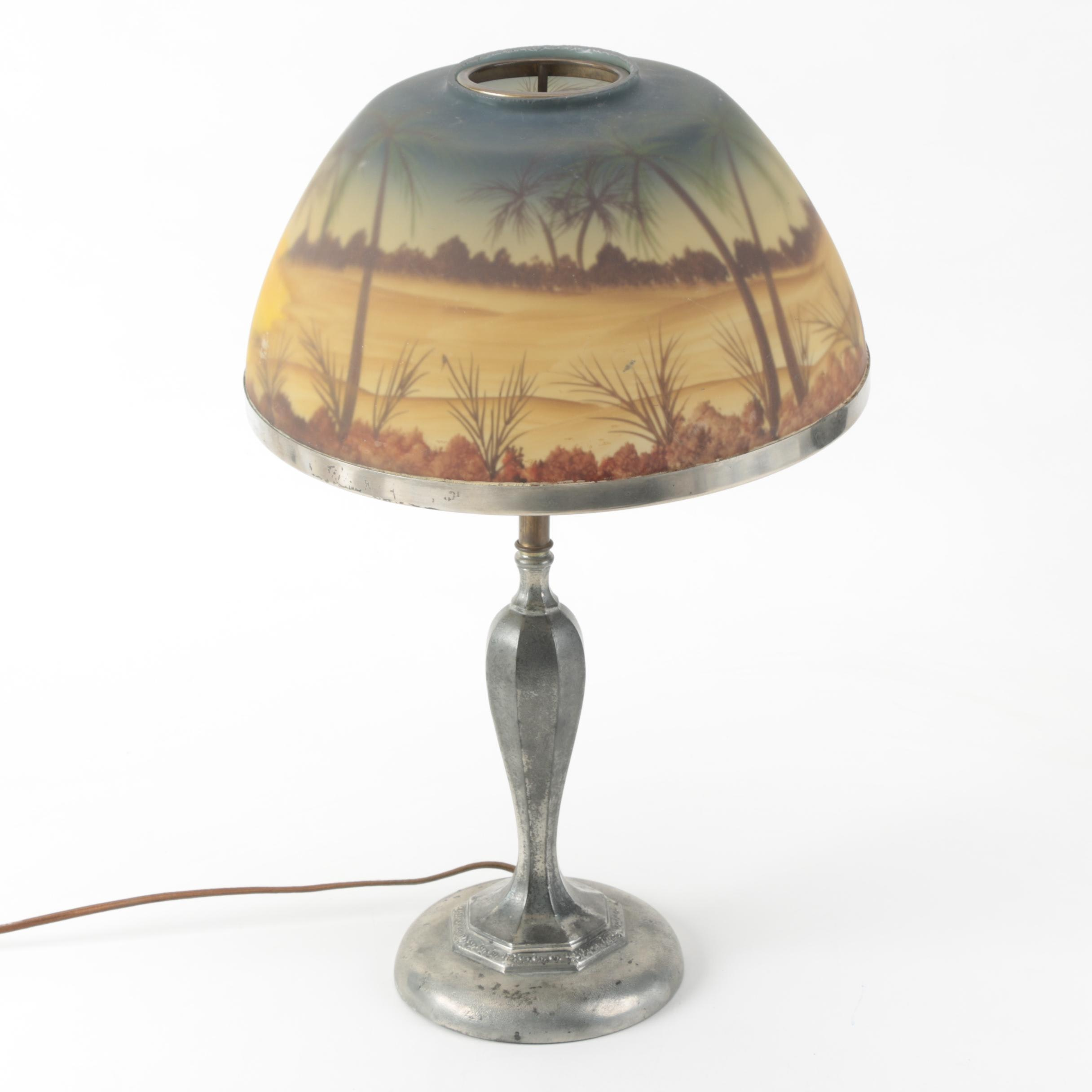 Vintage Pairpoint Table Lamp and Reverse Painted Shade