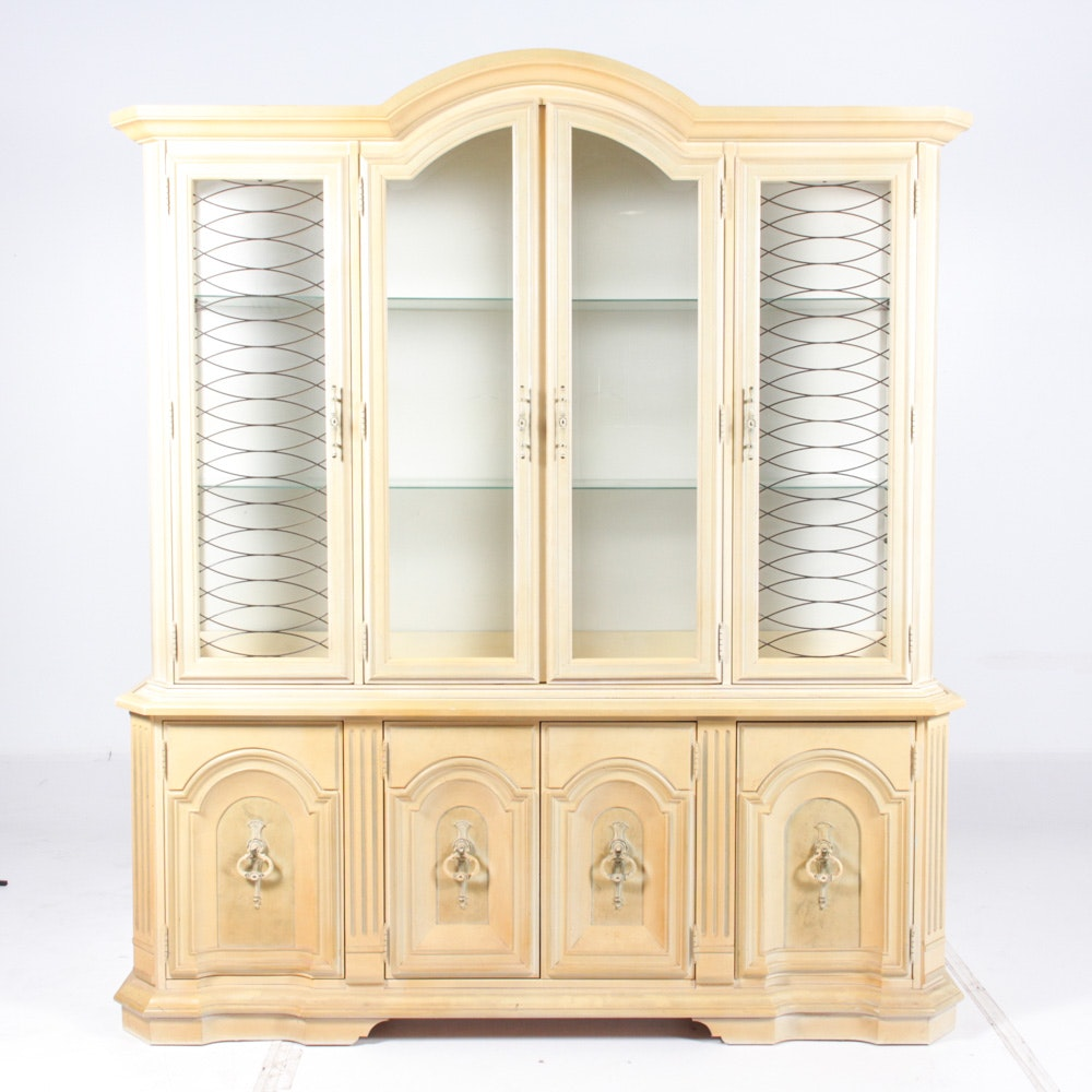 Vintage French Provincial Style Buffet China Cabinet By Stanley ...