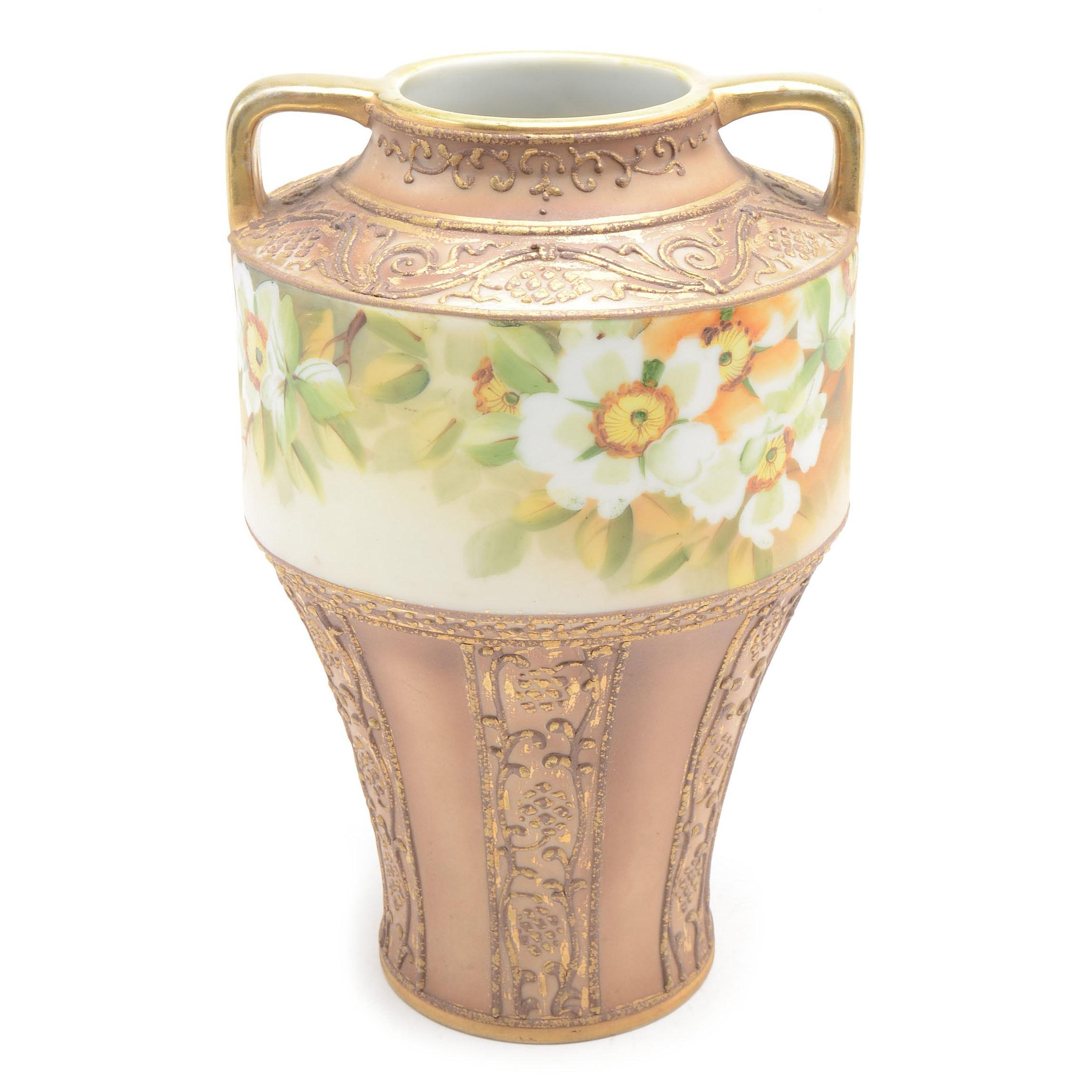 Art Nouveau Nippon Floral Porcelain Vase
