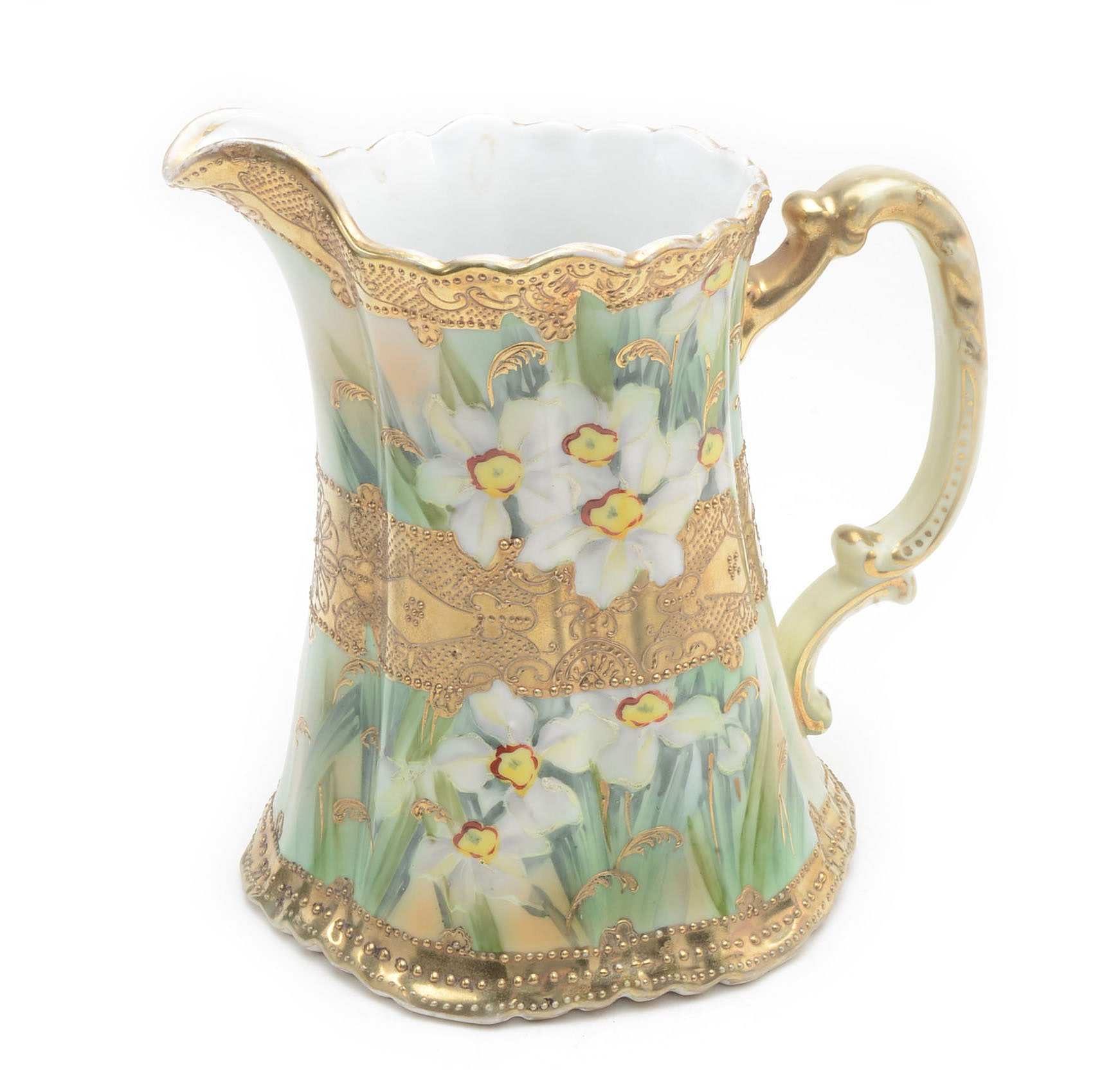 Moriage Decorated Floral Nippon Pitcher