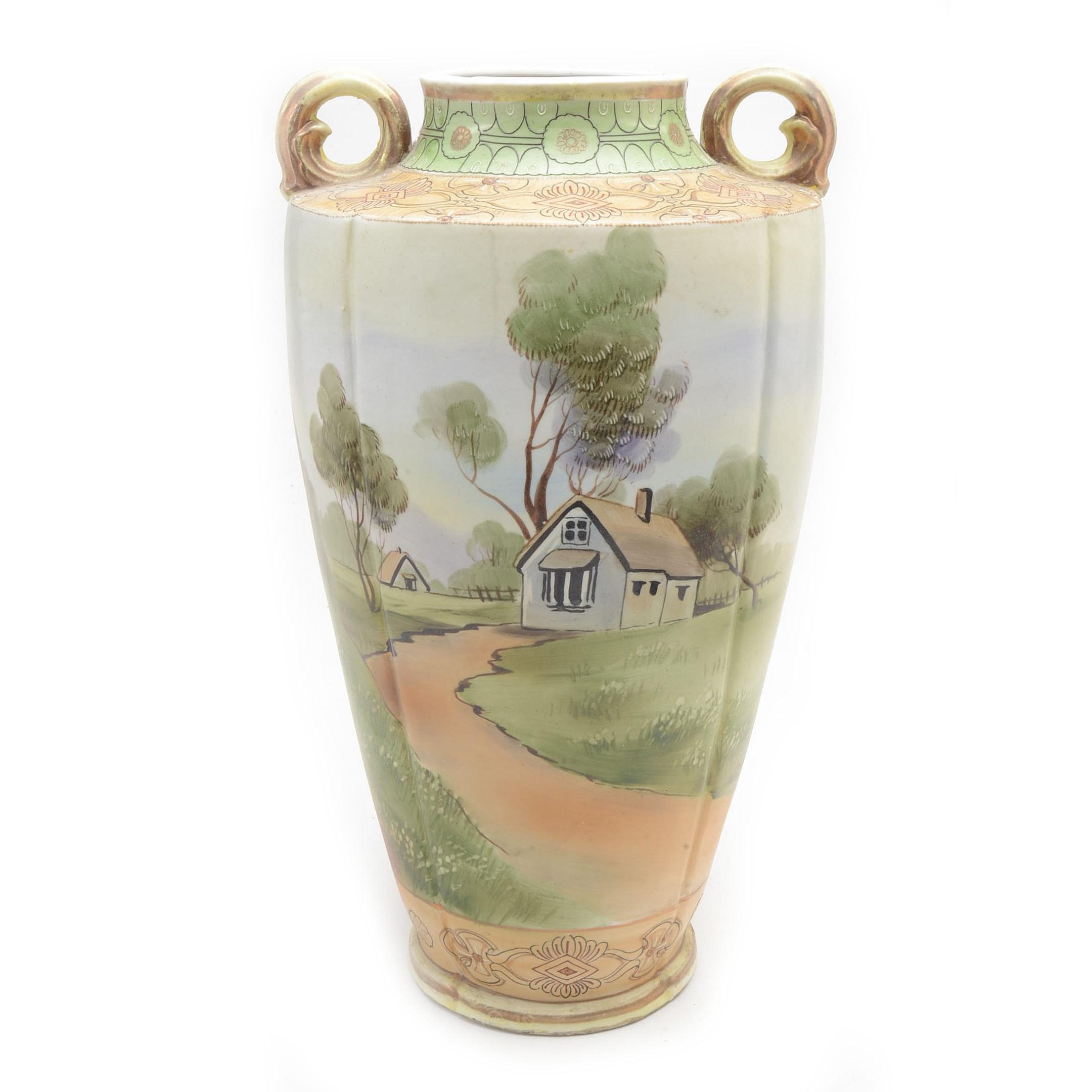 Large Vintage Hand-Painted Eso Nippon Vase