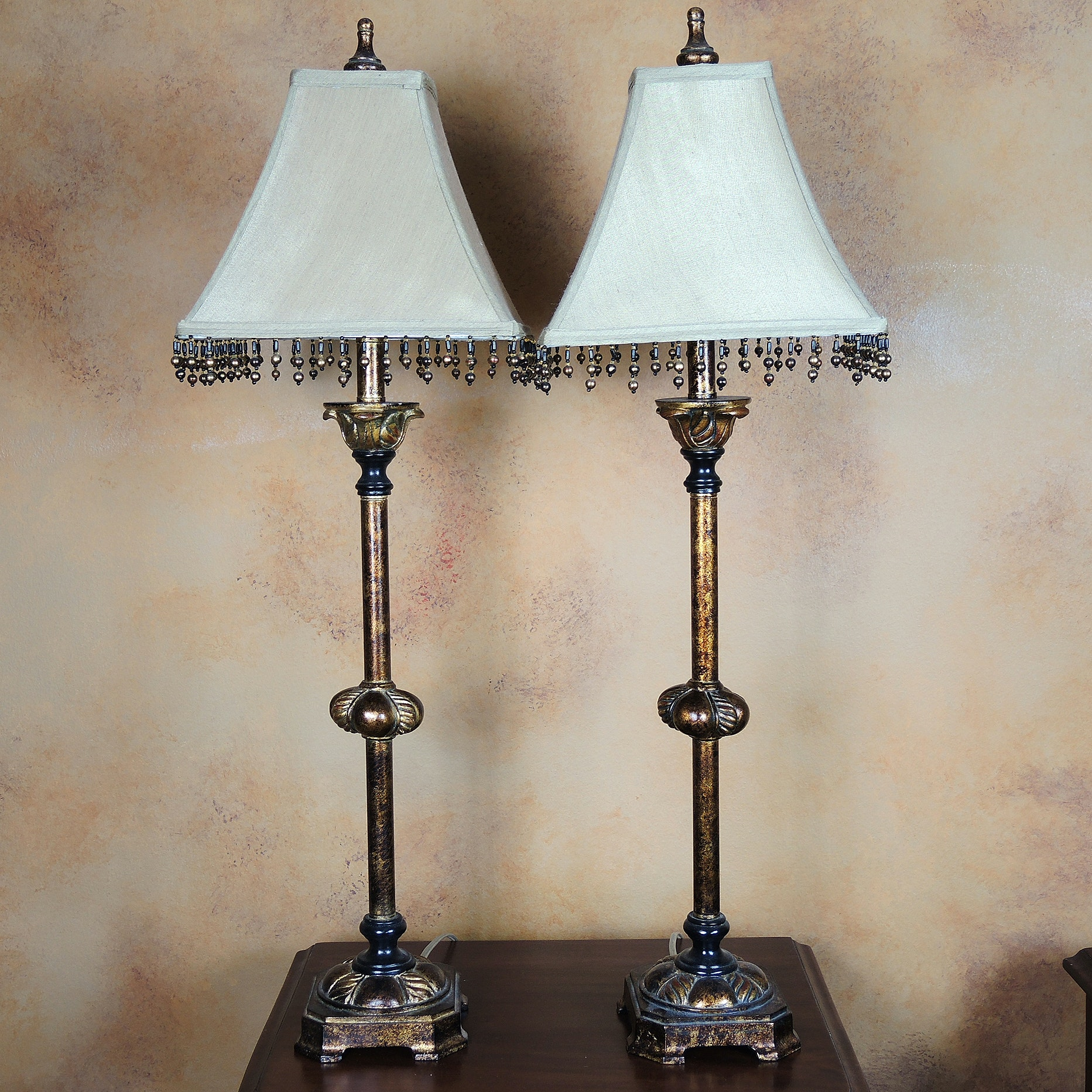 Matching Candlestick Style Lamps with Beaded Shades