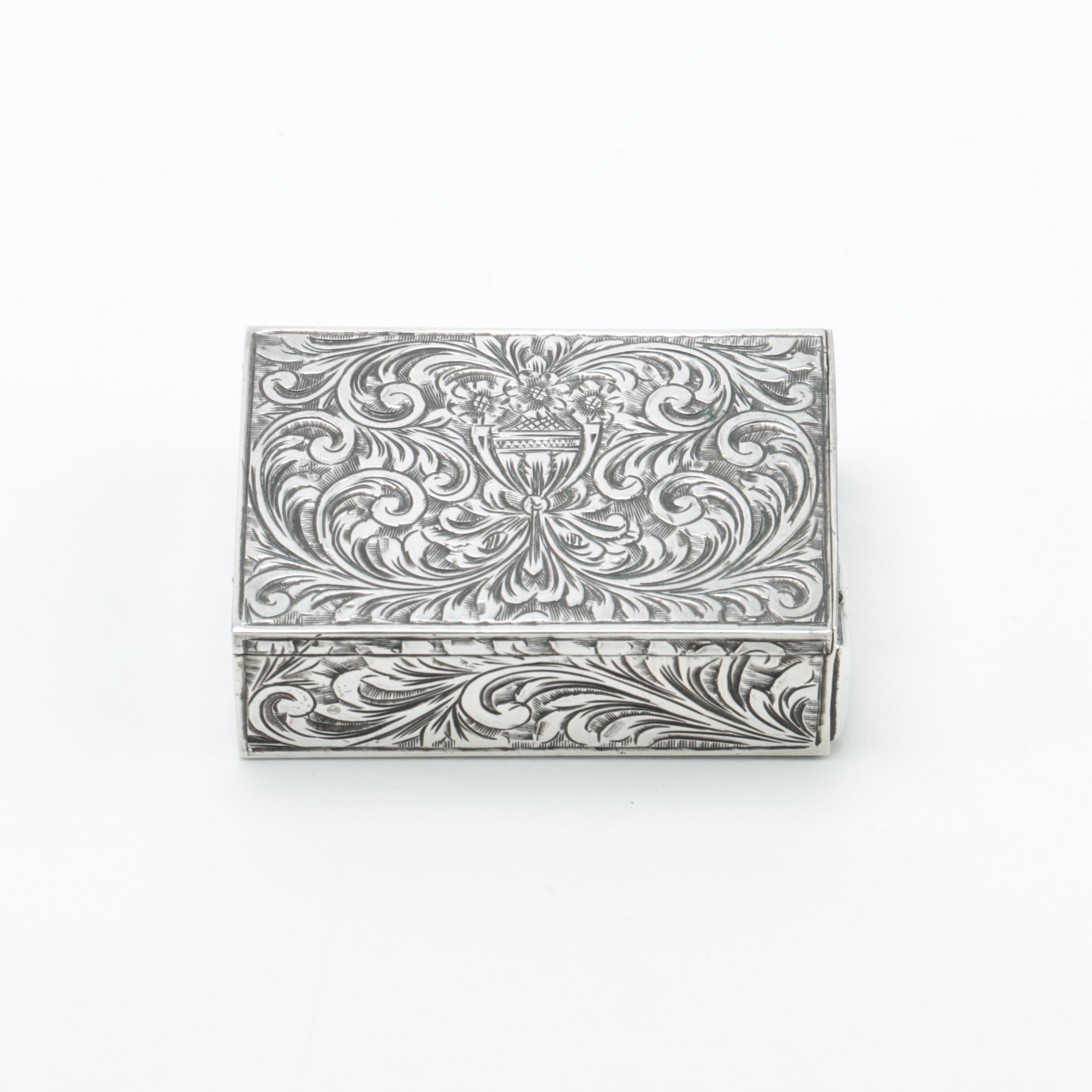 Italian 800 Silver Lipstick Compact