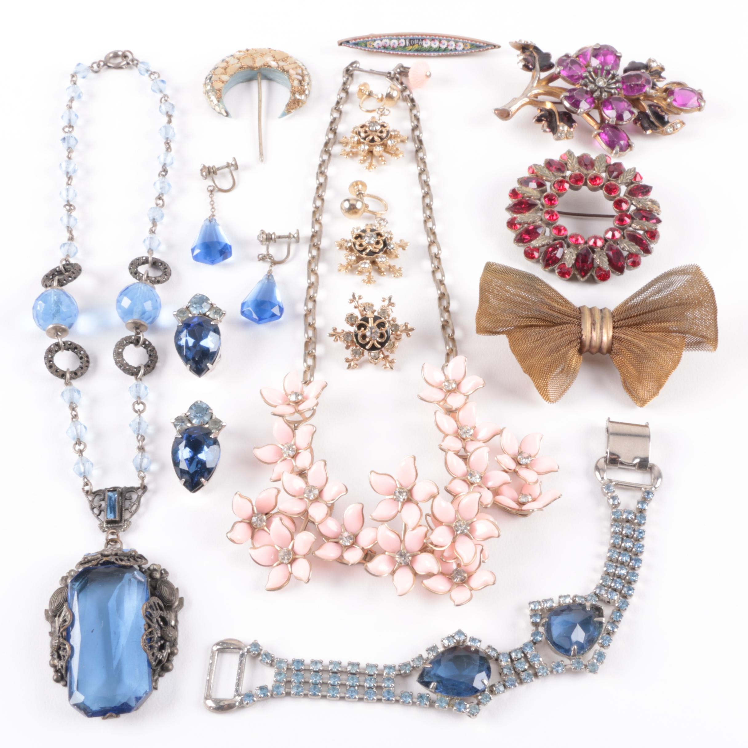 Assorted Vintage Costume Jewelry Including a Micro Mosaic Brooch