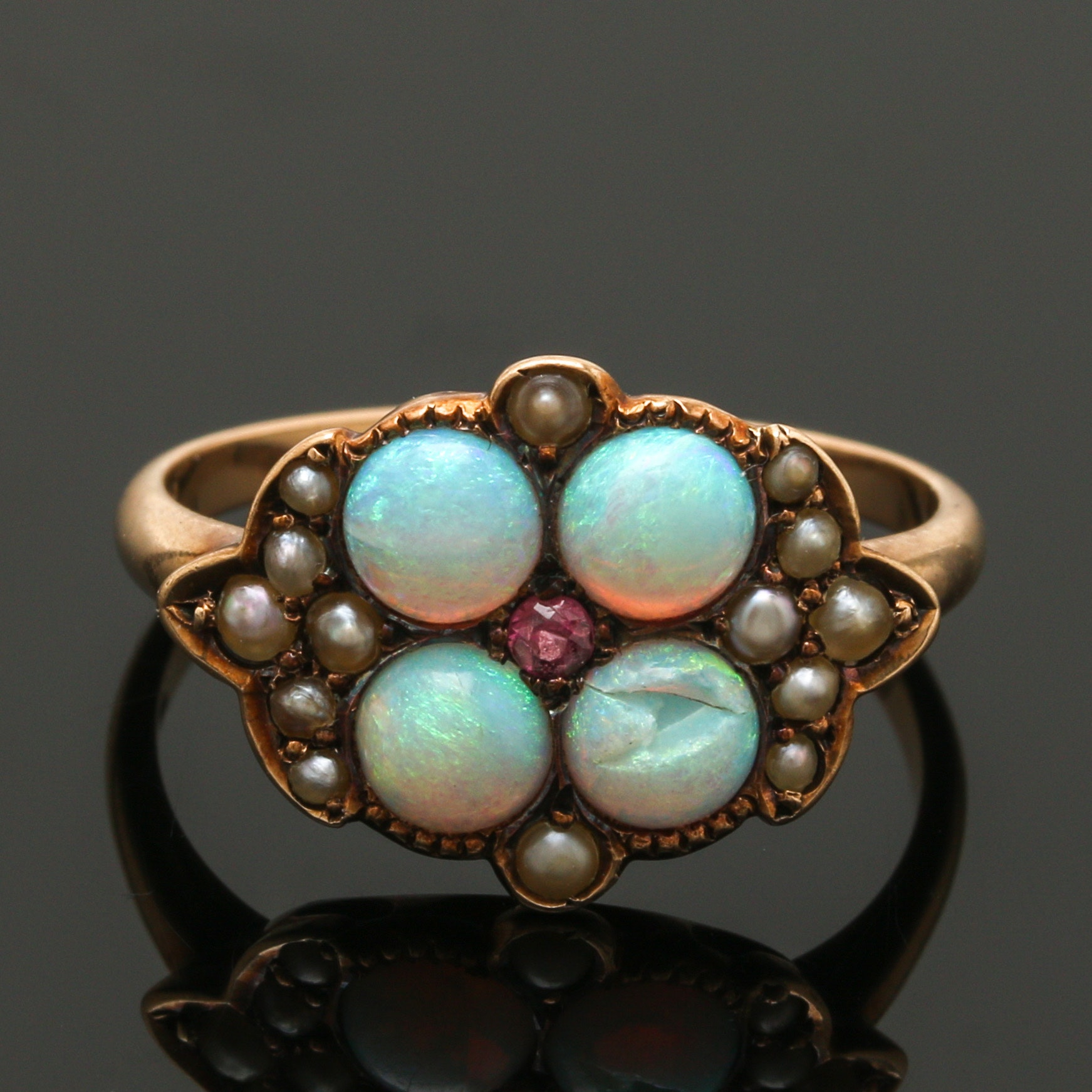 Victorian 10K Yellow Gold Opal, Rhodolite Garnet and Seed Pearl Ring