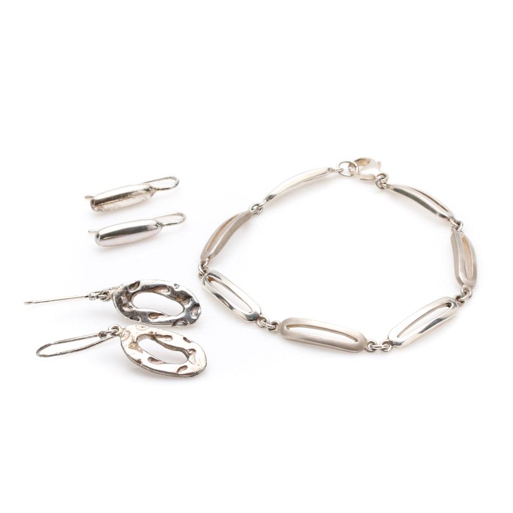 Bill Schiffer Sterling Silver Earrings and Bracelet
