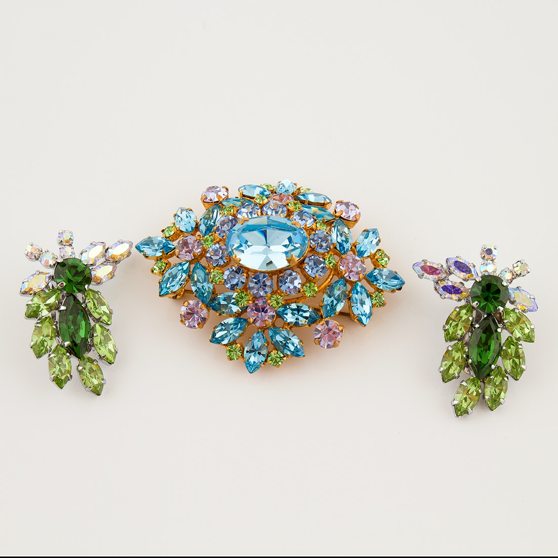 Austrian Crystal Brooch and Clip-Back Earrings, Circa 1950s