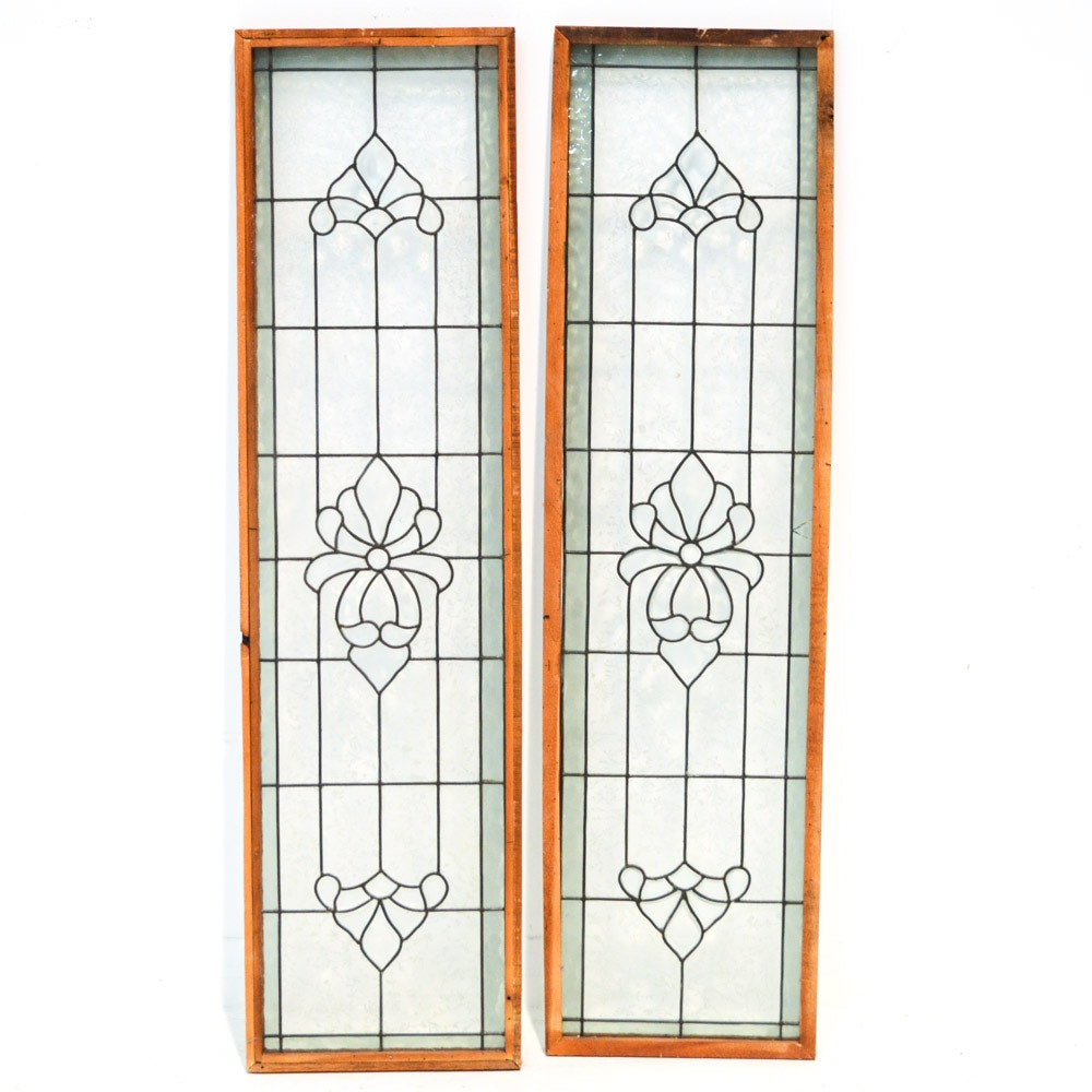 Two Custom Hand-Crafted Leaded Glass Panels