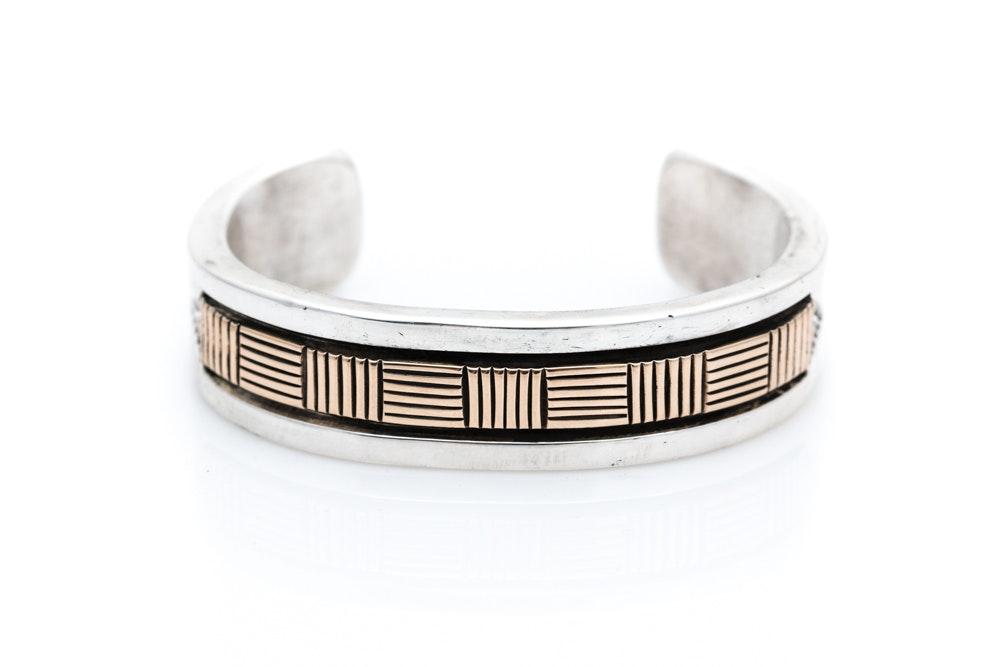 B. Morgan Sterling Silver and 14K Yellow Gold Bracelet