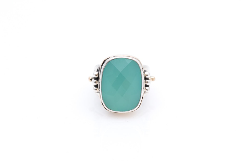 Sterling Silver 14K Gold Faceted Blue Stone Ring