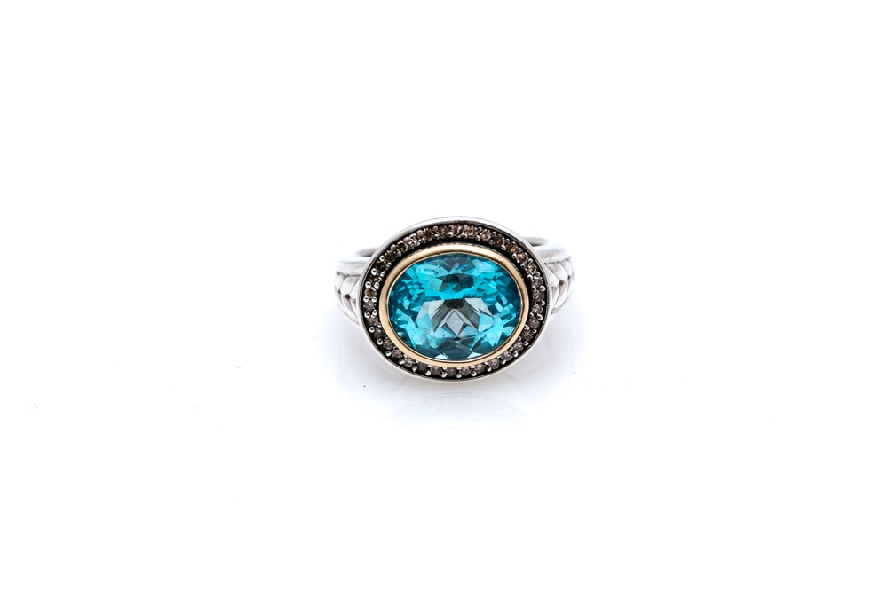 Sterling Silver 14K Gold Blue Topaz and Diamond Ring