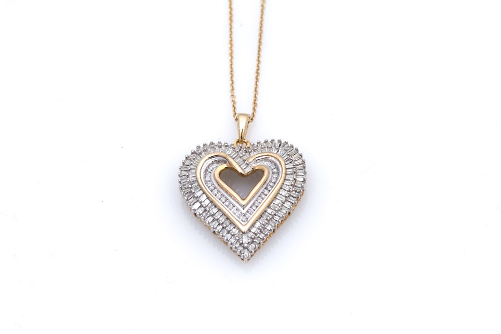 Sterling Silver 1.35 CTW Diamond Heart Pendant Necklace