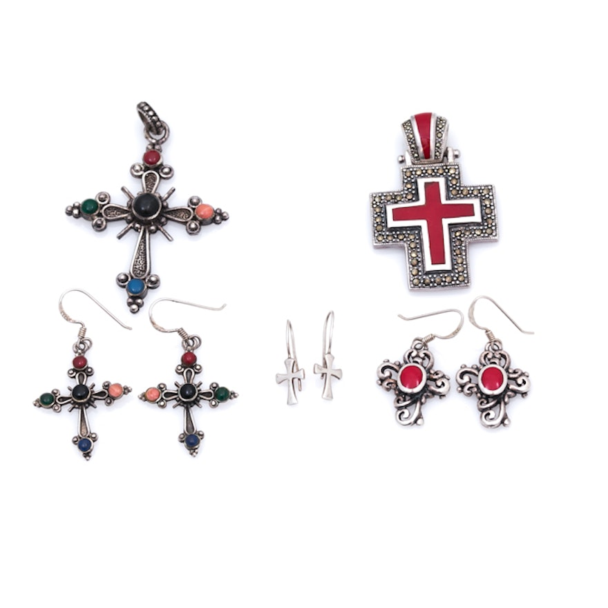Sterling silver multi stone cross pendants and earrings ebth sterling silver multi stone cross pendants and earrings aloadofball Image collections