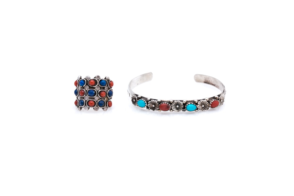 Sterling Silver Multi-Stone Bracelet and Ring