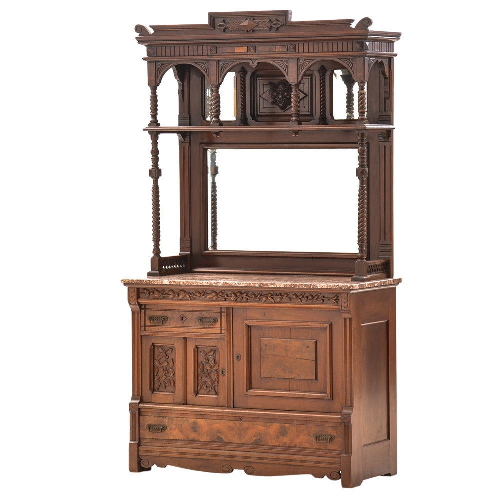 Antique Walnut Buffet with Mirrored Hutch and Marble Top