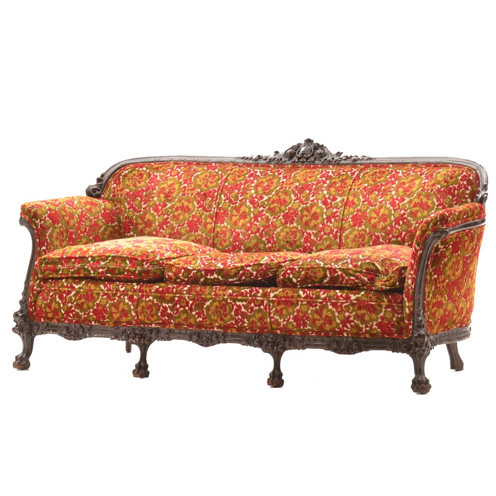 Antique Chenille Upholstered Sofa