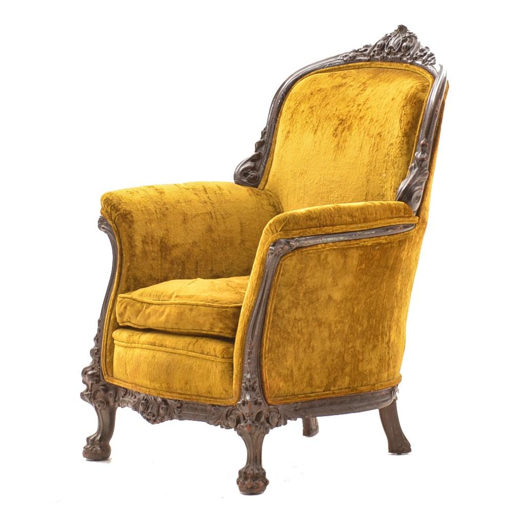 Antique Velvet Upholstered Armchair