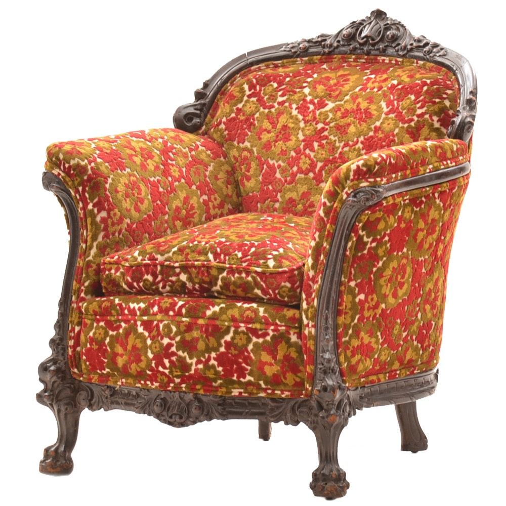 Antique Chenille Upholstered Armchair