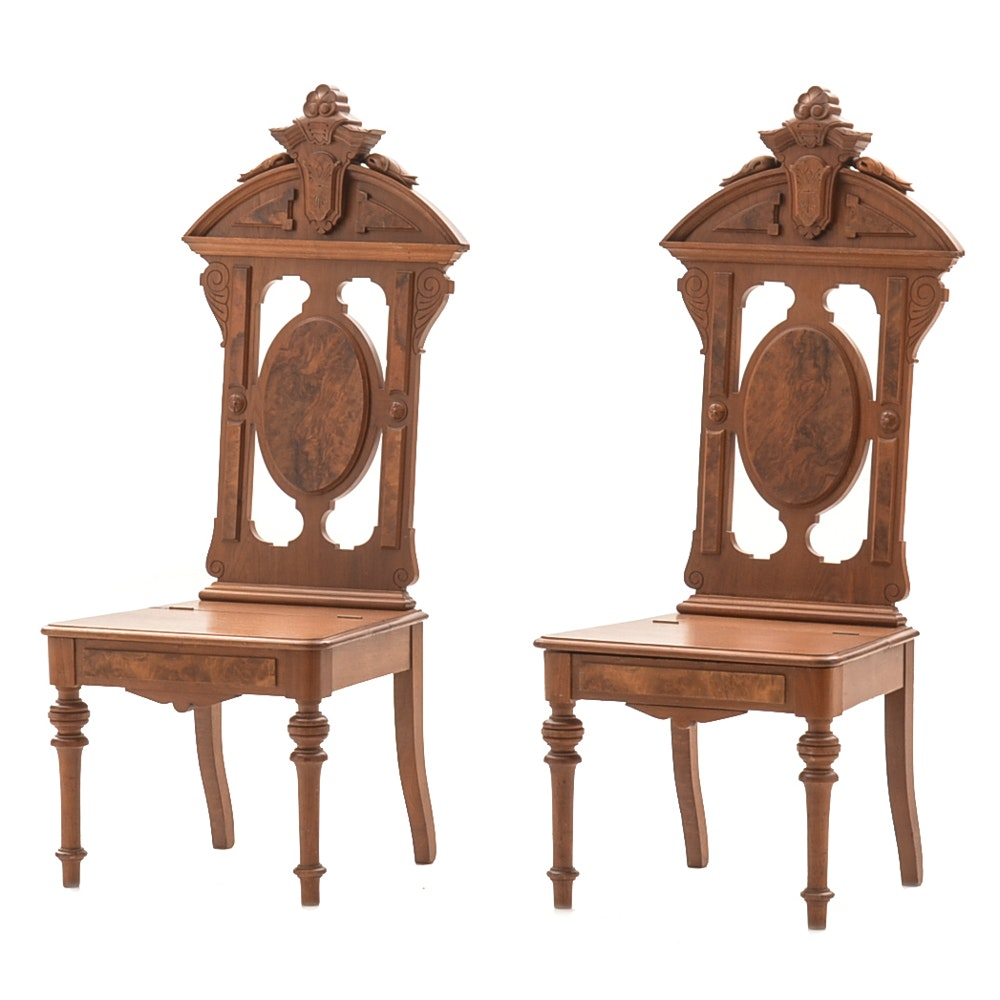 Pair of Victorian Walnut Chairs with Seat Compartments