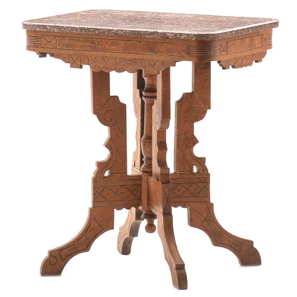 Eastlake Marble Top Accent Table