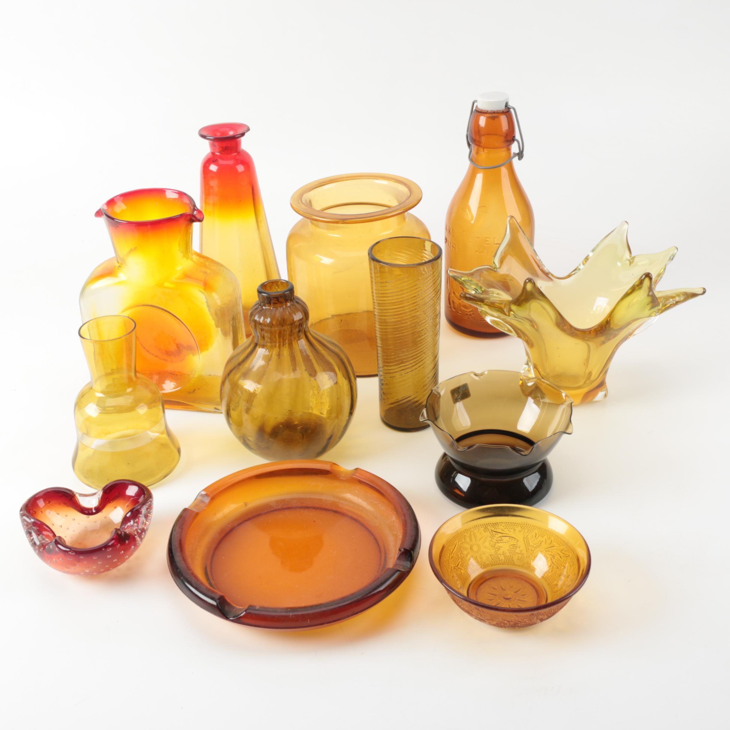 Amber-Colored Glassware Including Blenko Ambernia Double Carafe