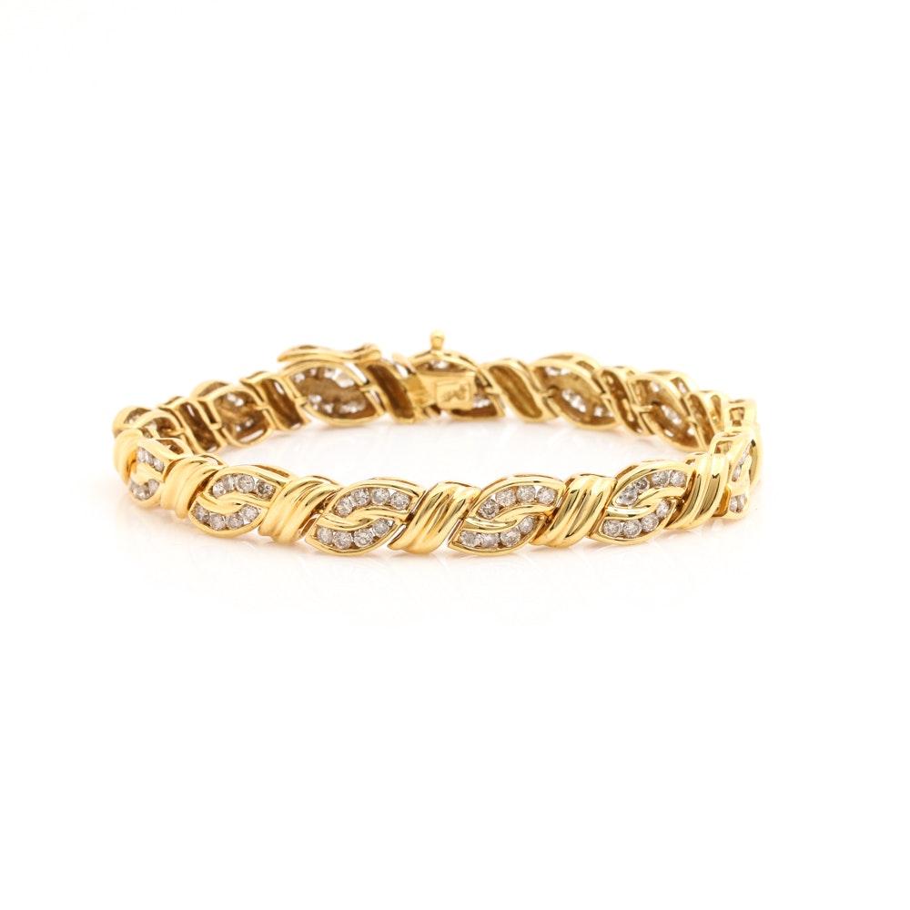 14K Yellow Gold 3.00 CTW Diamond Tennis Bracelet