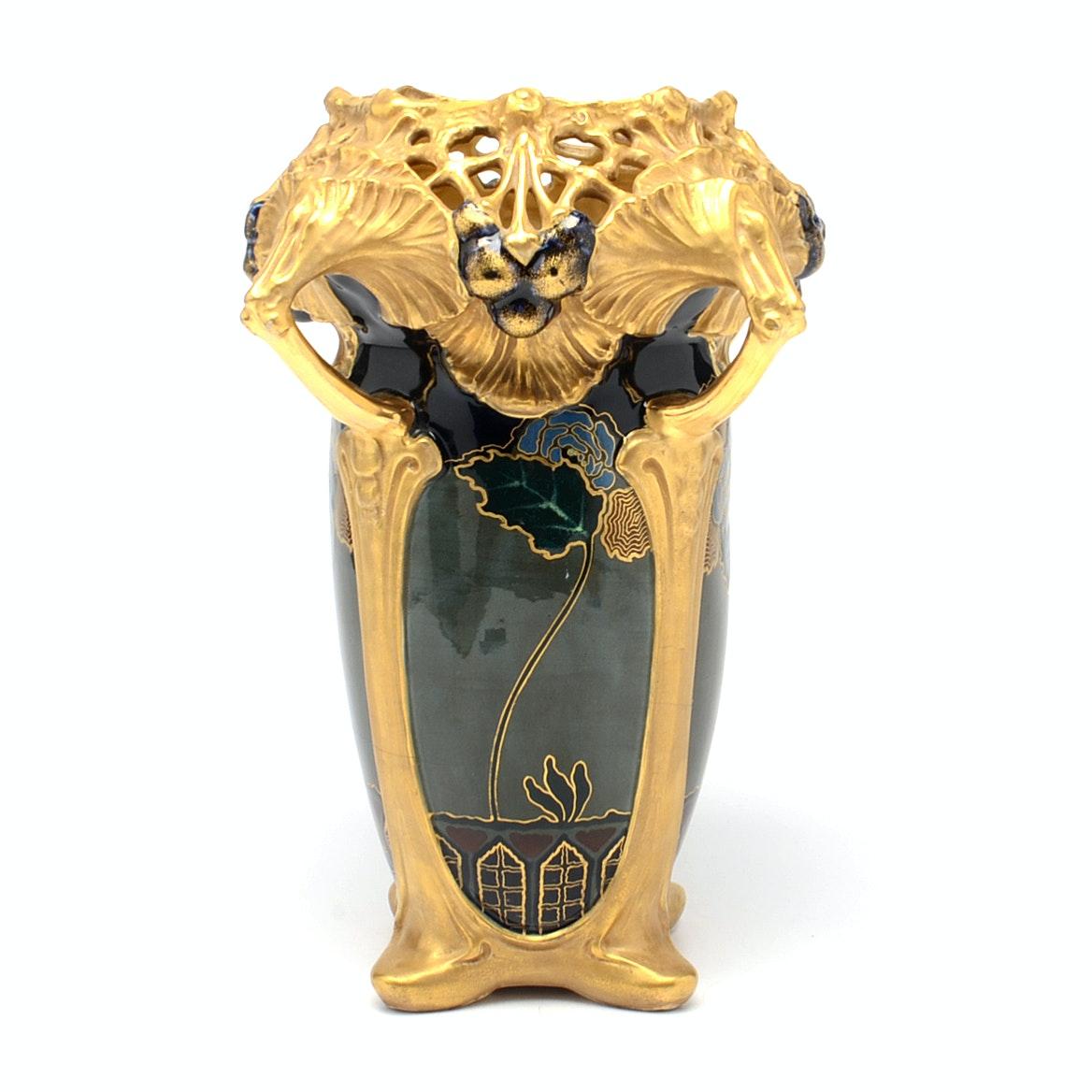 Ernst Wahliss Art Nouveau Amphora Vase