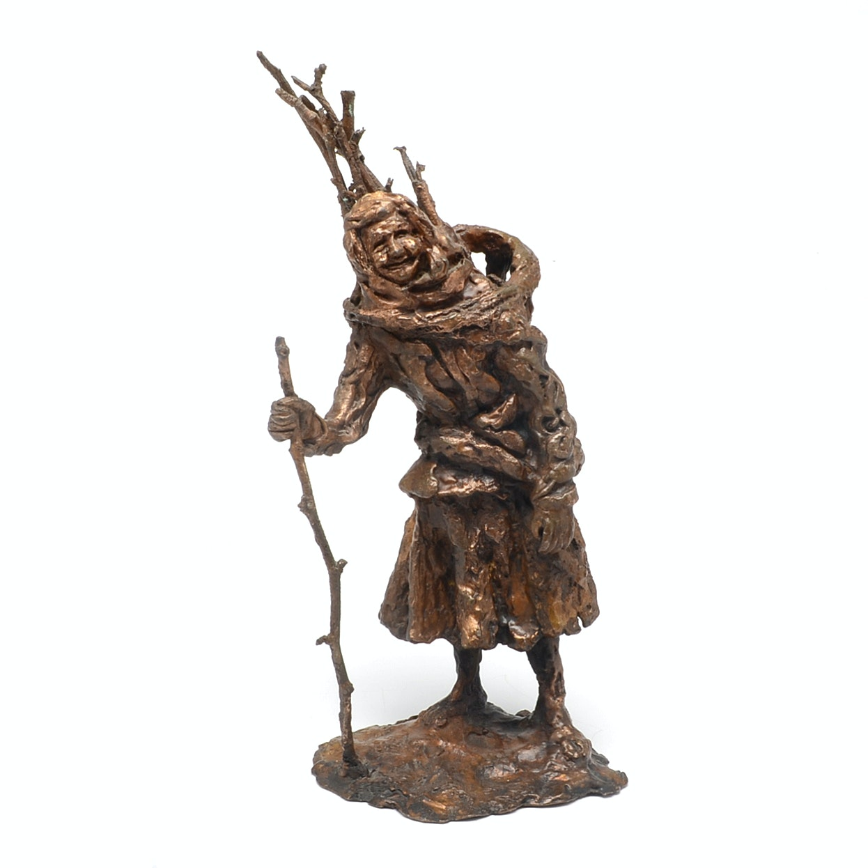 Bronze Folk Art Peasant Woman Sculpture