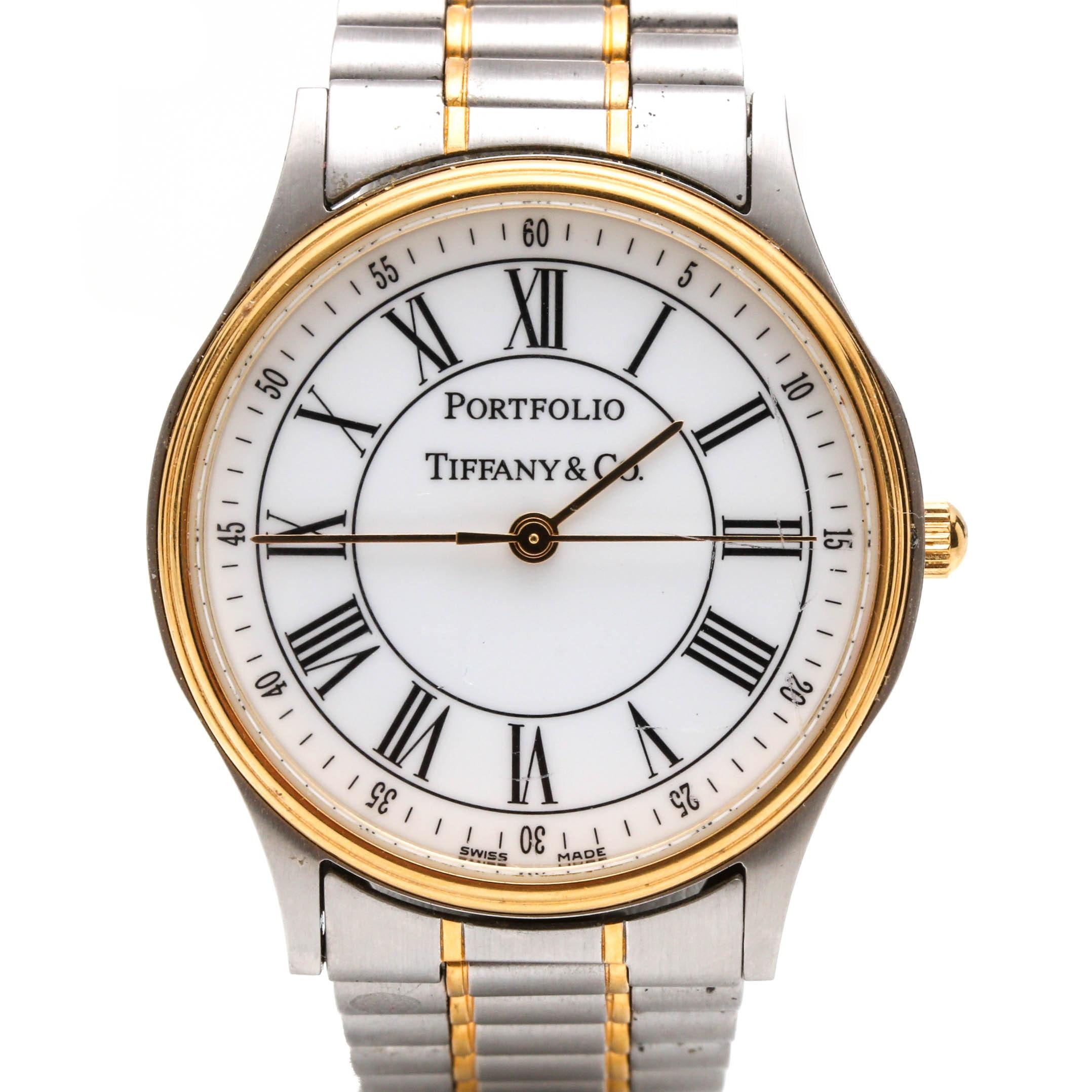 """Tiffany & Co. Stainless Steel """"Portfolio"""" Wristwatch"""