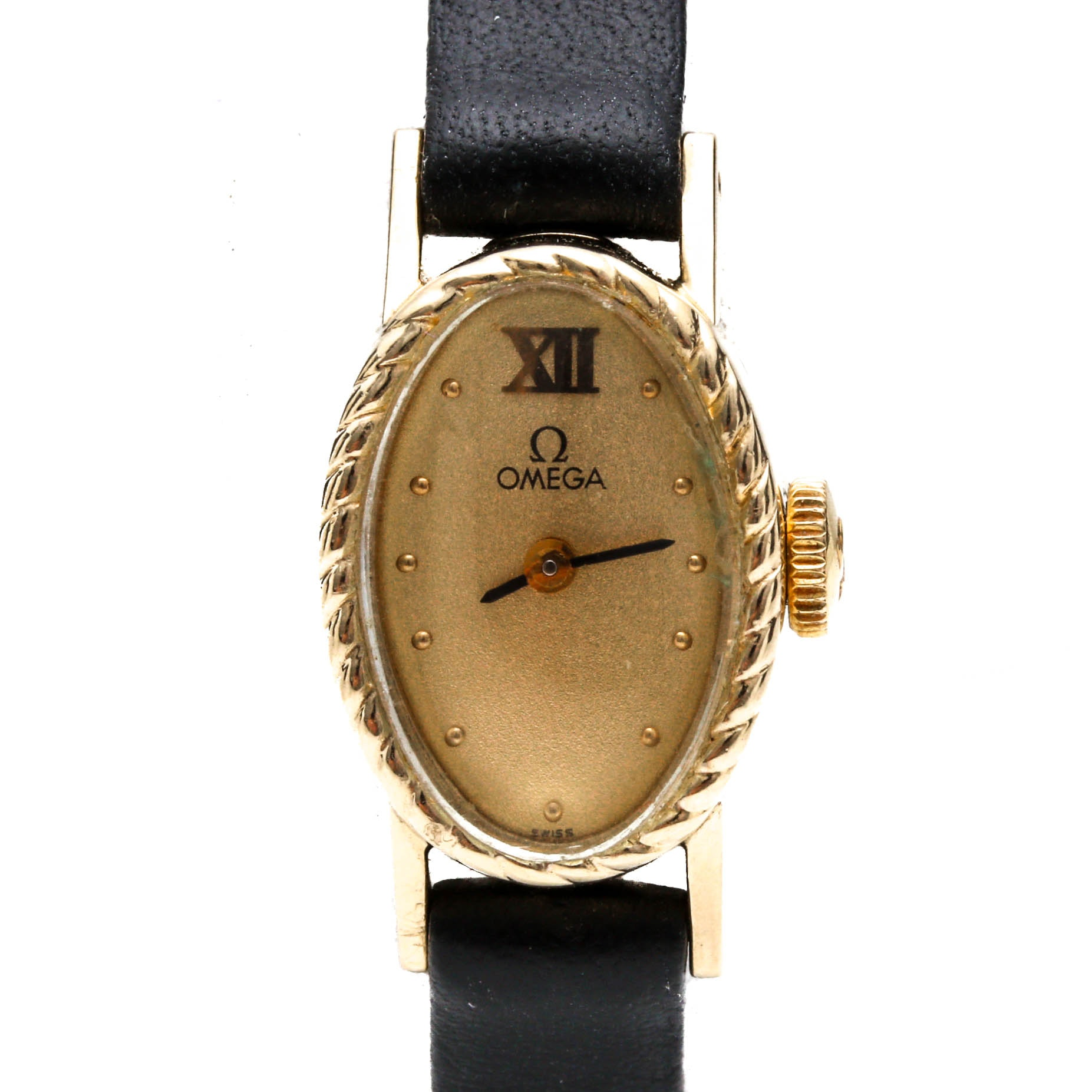 Omega 14K Yellow Gold Black Leather Strap Wristwatch
